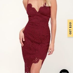 Lulus Flirting with Desire Burgundy Lace Bodycon